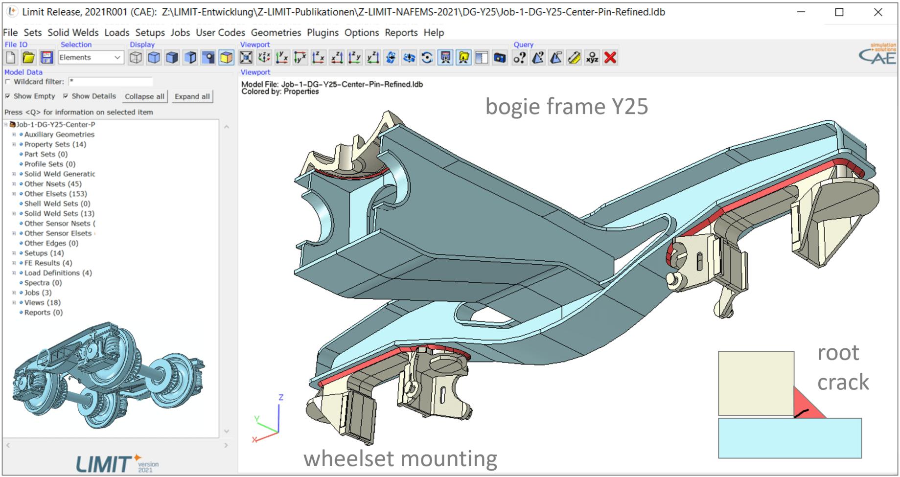 Fillet welds on bogie frame